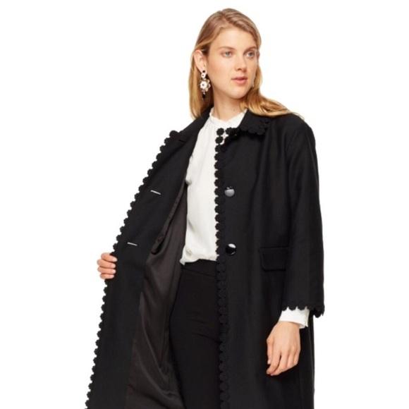 Kate Spade Floral Lace Trim Coat in Black size 2